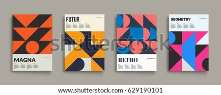 Retro graphic design covers. Cool vintage shape compositions. Eps10 vector.