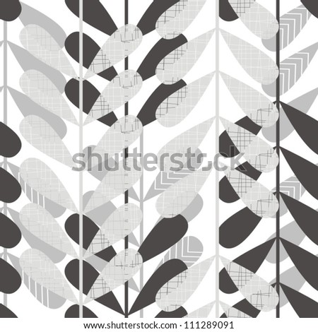 retro gray leaves on white background  seamless pattern