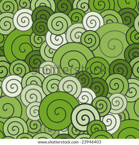 Retro green spirals pattern