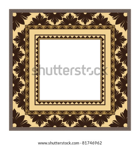 Retro greeting card frame with ornament. Vector background Eps 10.