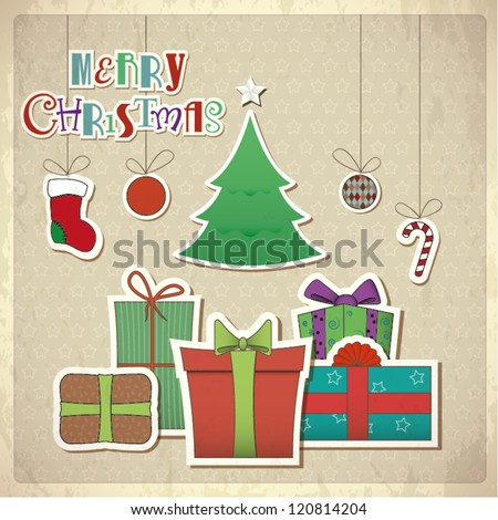 Retro greeting card with gift boxes Vector illustration