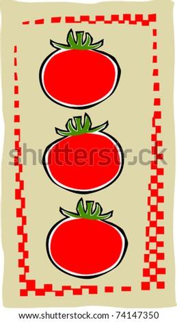 Retro Grocery Deli Tomato Collage Vector Illustration