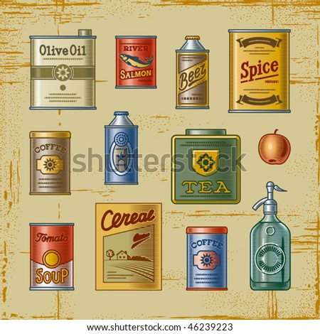 Retro grocery set. Vector