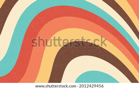 Retro groovy background. Abstract colourful and textured wavy shapes design.