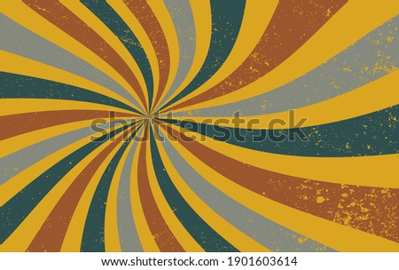 Retro groovy sunburst vector background, spiral swirls of red, fortuna gold, blue, gray, and white colors with old vintage grunge texture Foto stock ©