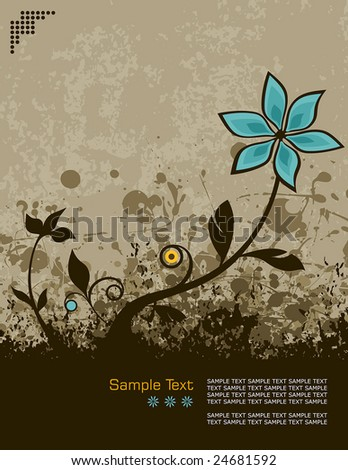 retro grunge vector illustration of a flower growing from the ground