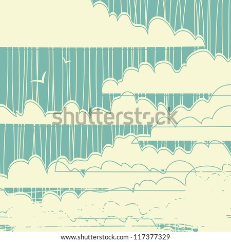 retro grungy clouds background