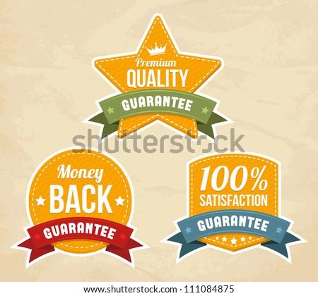 Retro guarantee labels. Vector illustration.