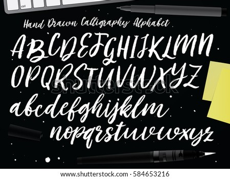 Retro Hand Drawn Alphabet. Script Painted Letters. Handwritten Script Alphabet. Hand Lettering and Custom Typography For Your Designs: Logo, For Posters, Invitations, Cards, etc. Vector Typography.