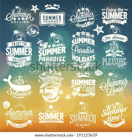 Shutterstock Retro hand drawn elements for Summer calligraphic designs | Vintage ornaments | All for Holidays | tropical paradise, sea, sunshine, weekend tour, beach vacation, adventure labels | vector set