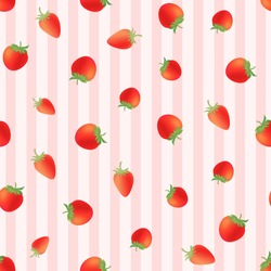 Retro hand drawn strawberry seamless vector pink striped background, fruit illustration, juicy delicious plant fruit, wallpaper, packaging, printable, fresh fruits for spring and summer