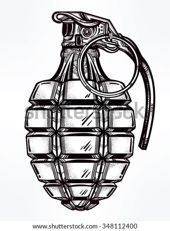 retro hand grenade drawing in...