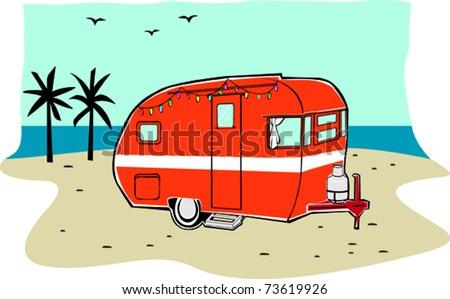 Retro Happy Hippie Vintage Tiki Beach Travel Trailer Vector Illustration - stock vector