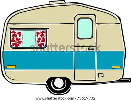Retro Happy Hippie Vintage Travel Trailer Camper Vector Illustration - stock vector