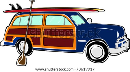 Woody Car Drawing Board Sup Woody Car Vector