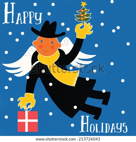 Retro Happy Holidays Christmas Greeting Flying Angel Man with Present and Christmas Tree