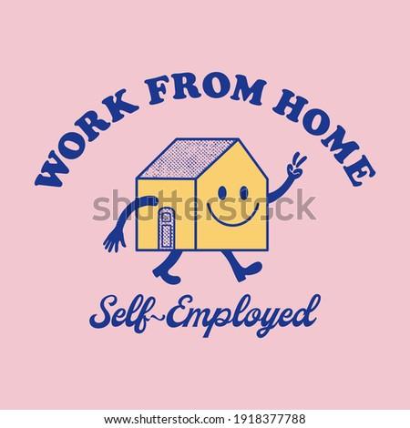 Retro happy house mascot vector art illustration. Smiling home character fashion illustration. Vintage slogan T shirt print design.