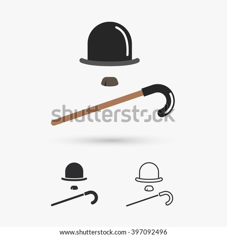 retro hat cane and moustache