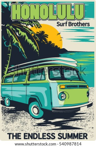 retro hawaii surf poster