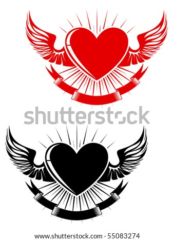 Retro heart with wings for tattoo design. Jpeg version also available