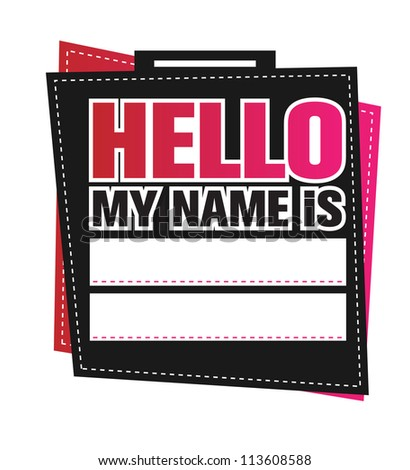 Retro Hello my name is tag - vector
