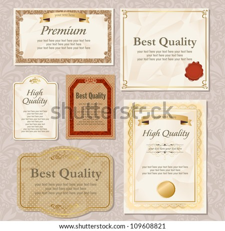 Retro High quality & Premium labels set