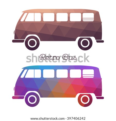 retro hippie bus color car