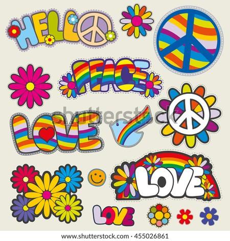 retro hippie patches vector