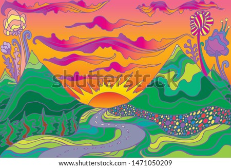 Retro hippie style psychedelic landscape  with mountains, sun and the road going into the sunset.  Vector hand drawn cartoon bright gradient colors background.