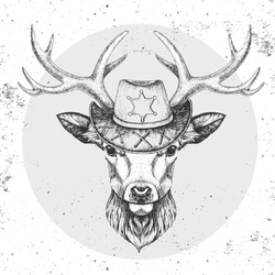 Retro Hipster animal deer with sheriff's hat. Hand drawing Muzzle of animal deer