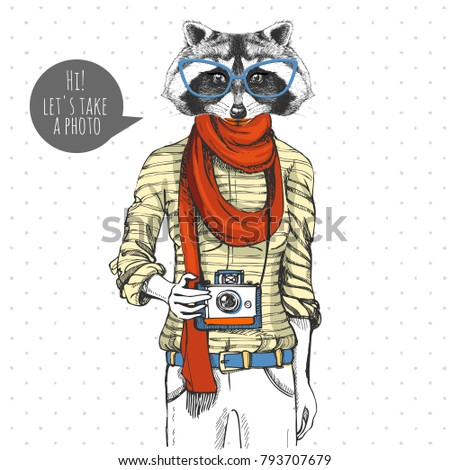 retro hipster animal raccoon