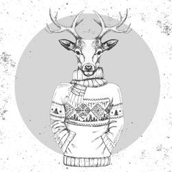 Retro Hipster fashion animal deer dressed up in pullover.