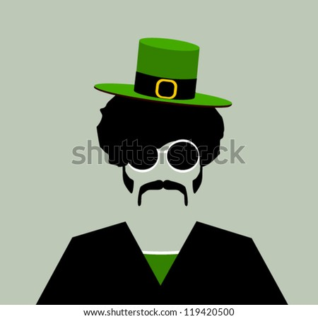retro hipster man with small irish leprechaun hat