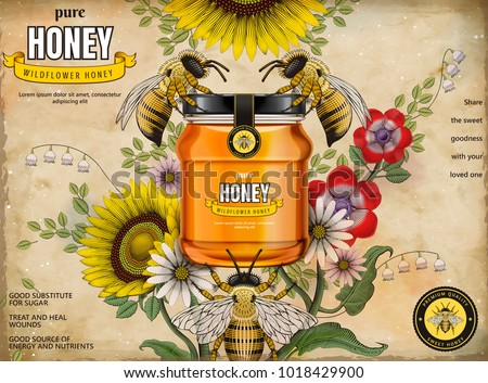 Retro honey ads, glass jar in 3d illustration with honey bees and elegant flowers around it, etching shading style background