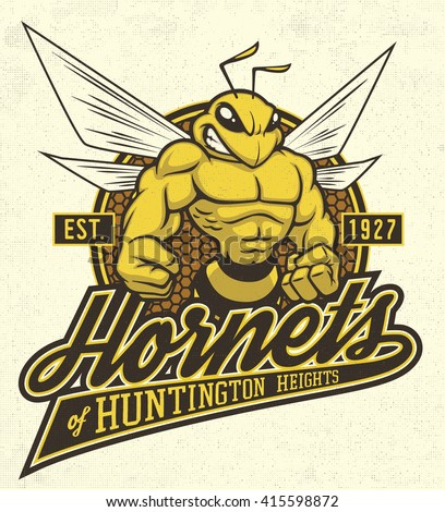 "Retro ""Hornets"" athletic design complete with hornet or bee mascot vector illustration, vintage athletic fonts and matching textures (all on separate layers, of course)."