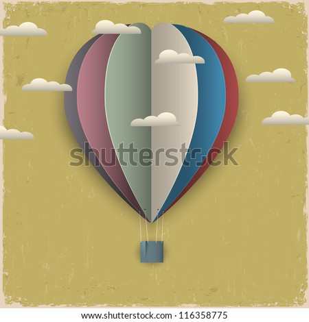 Retro hot air balloon and clouds from paper Creative vector eps 10