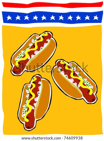 Retro Hot Dogs Summertime Fourth of July Food & Fun Series Vector Illustration