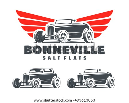 Retro Hot Rod with stylized wings logo. Bonneville salt flats racing emblem. Roadster and coupe isolated on white background.