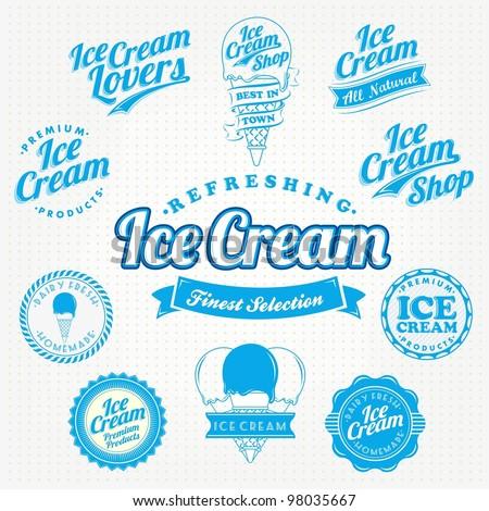retro ice cream label and...