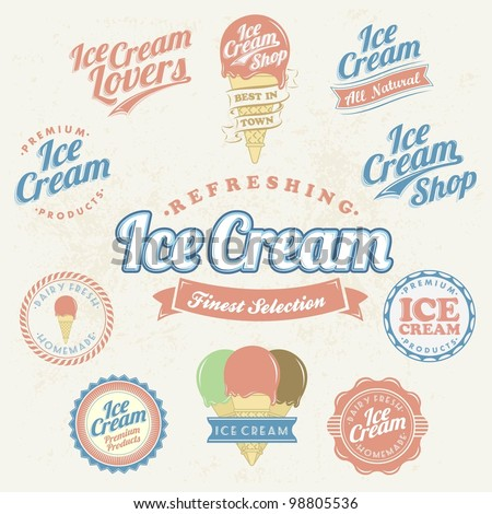 Retro Ice Cream Label And Vintage Set - stock vector