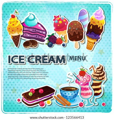 Retro Ice cream menu