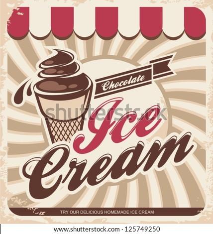 retro ice cream poster. vector...