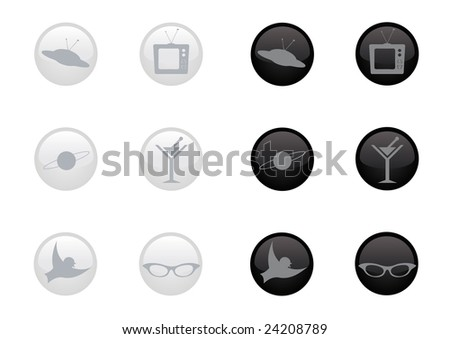Retro icons in black and white colors.