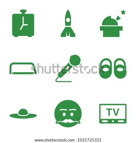 Retro icons. set of 9 editable filled retro icons such as baby shoes, woman hat, emot with mustache, observatory, microphone, tv, alarm, hacksaw