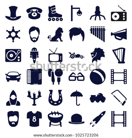 Retro icons. set of 36 editable filled retro icons such as lion, ball, man hairstyle, megaphone, hacksaw, movie tape, barbecue, rocket, desk phone, gramophone, harp, harmonic
