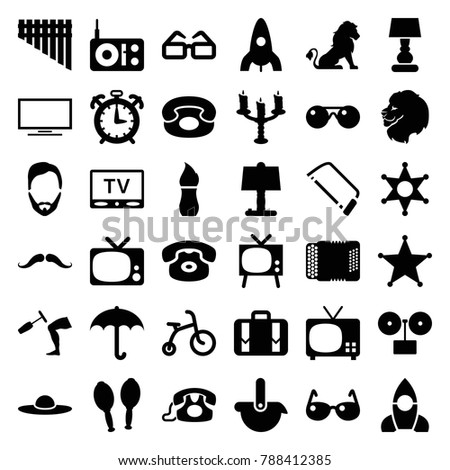 Retro icons. set of 36 editable filled retro icons such as lion, child bicycle, rocket, mustache, man hairstyle, woman hat, hacksaw, umbrella, gramophone, tv, desk phone