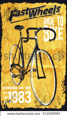 Retro Illustration Bicycle posters.bike vector printing