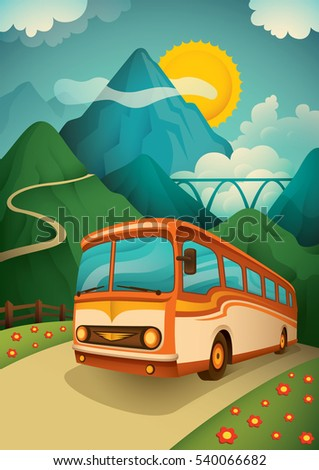 retro illustration of a travel