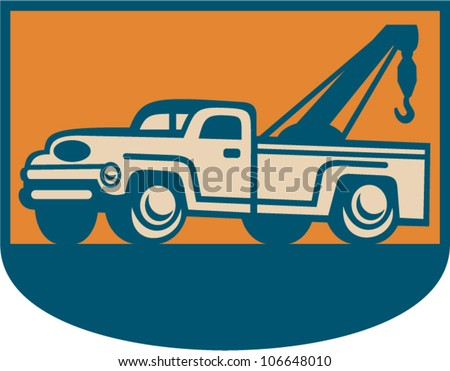 Retro illustration of a vintage tow wrecker pickup truck viewed from side.