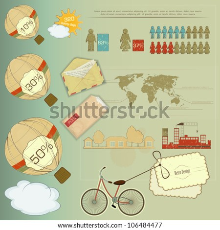 Retro Infographic - Set of elements for Presentation and Visualization - Vector Illustration